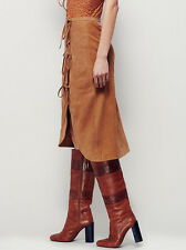 Free People  Free People It's A Wrap Brown Suede Skirt Sz 12 New $228