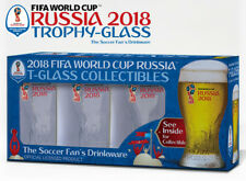 Russia 2018 Logos FIFA World Cup Trophy-glass - Set of 4 Gift-Box - Soccer Fan's