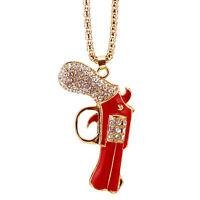 Rhinestone revolver pendant necklace,crystal gun pendant necklace,cute necklace