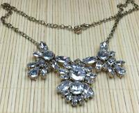 Loft Necklace Rhinestone Crystal Acrylic Cast Goldtone Sparkly Statement