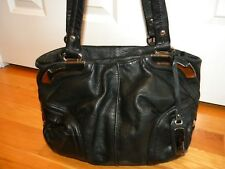 B. Makowsky Black Leather Shoulder Bag Purse