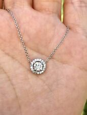 14k White Gold .75ctw Natural Real Diamond Halo Pendant Necklace 16.5""