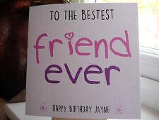 Handmade Personalised Bestest Best Friend Ever Birthday Card Girl Female