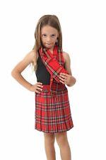 New Girls Tartan Box Pleated School Skirt All round Elasticated Knee Length 5-12