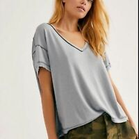 Free People All Mine Oversized Open Back Grey Tee Top Women's XS X Small NWT