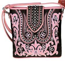 Montana West Bling Pink Brown Concealed Handgun Pocket Crossbody Purse Handbag