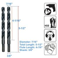 "7/16"" x 5-1/2"" with 3/8"" Shank Drill Bit for Metal Wood HSS Jobber Drill bits"