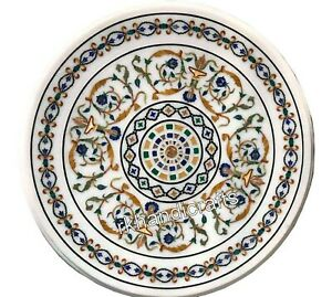 27 Inches Peitra Dura Art Marble Patio Table Top Round Marble Coffee