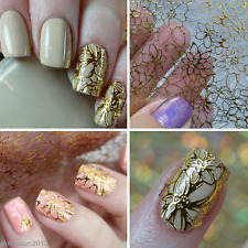HOT 3D Embossed Nail Art Stickers Gold Flower Manicure Decals Tips Decoration