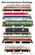 """Erie Lackawanna Heritage 11""""x17"""" Poster by Andy Fletcher signed"""