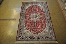 Perfect Balance Bright Red Handmade 5' x 8' Silk Tabriz Area Rugs For Sale Rug