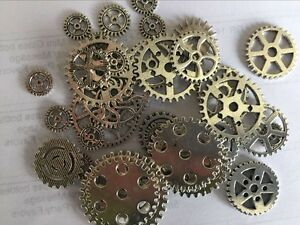 Antiqued Silver Alloy Mixed Clock Steampunk Gear Pendant Charms 15mm 30mm 20pcs