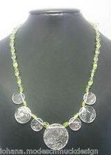 """Edelsteine Halskette """"Thalia"""" aus Bergkristall und Peridot, handmade, Handarbeit"""
