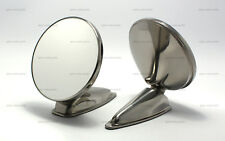 """PAIR OF 4.25"""" DURANT STAINLESS STEEL MIRROR REPRODUCTION PORSCHE 356 911 912"""