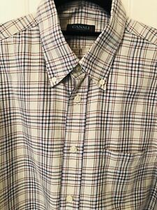 EUC Canali Sportswear DK Gray Rust Off White Airy Weave Cotton Button Up Shirt L