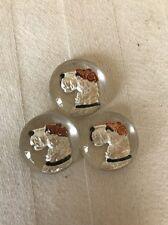 Set Of 3 Vtg Antique Cabachon Glass Dog Schnauzer Scottie Brown White Collar