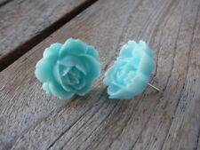 Ladies Women's Girls Large Light Blue Coloured Flower Rose Studs Free Shipping