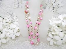 Darling Miriam Haskell Pink Glass & Pearl Necklace