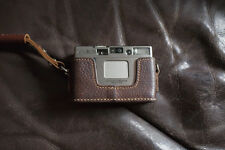 Genuine Real Leather Half Camera Case Bag Cover for MINOLTA TC-1 Brown
