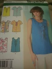 1886 Simplicity  Women's Sewing Patterns For Sizes 6-14 For Shirts, Blouses Tops