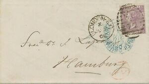 """GB 1866 QV 6d lilac large white letters Pl.5 (SB) Duplex """"LONDON-E.C / E.C / 77"""""""
