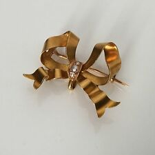 Broche Noeud en Or 18K Perles Bijou Napoleon III XIXè Victorian Gold Brooch