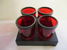 RED GLASS ROUND VOTIVE CANDLE HOLDERS WITH STORAGE BOX ~ SET OF FOUR