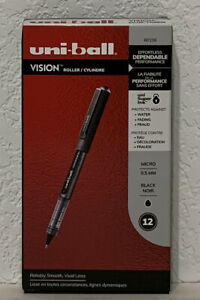 Uni-Ball Vision Roller Pens 60106 Micro 0.5mm Black Ink -New In Box (12 pens)
