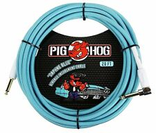 """Pig Hog PCH20DBR 1/4"""" Straight to 1/4"""" Right-Angle Daphne Blue Instrument Cable,"""