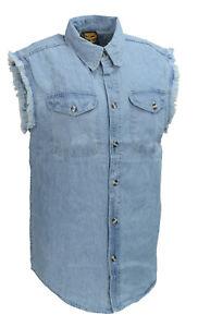 Milwaukee Men's Blue Lightweight Sleeveless Denim Shirt w/ Frayed Sleeves DM1001
