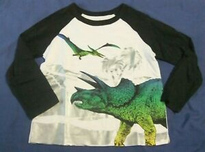 NWT Toddler Boy 2T, 3T, 4T, 5T DINOSAURS Tee White Long Sleeve Triceratops
