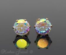 8MM AURORA SIMULATED DIAMOND 14K ROSE GOLD IP STUD MENS WOMENS GIRLS EARRINGS