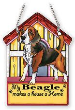 "AMIA STAINED GLASS SUNCATCHER BEAGLE DOG SIGN 5.5""X7.25"" DOGHOUSE 42114"