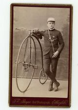 CDV PHOTO ELBERFELD Perger, un jeune homme pose GRAND BI vélocipède vélo ancien