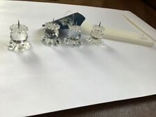 4 silver Swarovski cut crystal faceted ball candlesticks pin style holder 1.5�