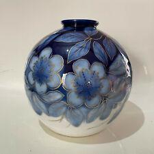 vase boule en porcelaine de Limoges Camille Tharaud Fleurs Bleu or fin art deco