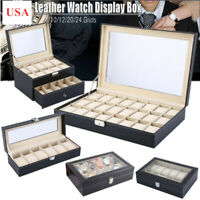 6/10/12/20/24 Slots PU Leather Watch Display Case Jewelry Storage Box Organize