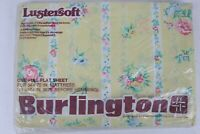 Vintage NOS Burlington Lustersoft Floral Print Full Flat Top Sheet New USA Made