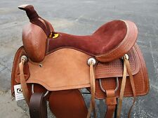 COWBOY RANCH ROPING ROPER 16 17 TRAIL WORK PLEASURE WESTERN HORSE LEATHER SADDLE