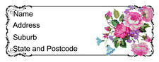 30 Personalised Quality Plus Adhesive Address Labels - Pink and Mauve  Flowers