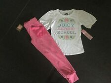 NWT Juicy Couture New & Gen Girls Age 8 Pink Velour Pants & White Cotton T-Shirt