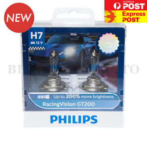 (ADR APPROVED) PHILIPS H7 +200% Racing Vision GT200 Halogen Headlight Bulb Globe