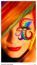 Xotic Exotic Eyes Rainbow Glitter Crystal Stick on Body/Face Tattoo Half Mask