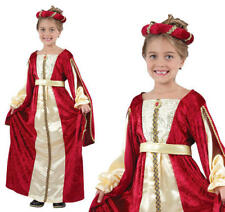 Girls Regal Red Princess Queen Tudor Medieval Fancy Dress Costume Outfit 4 - 13 Medium 7 - 9 Years