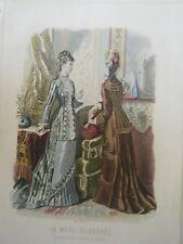 GRAVURE EN COULEUR 19è MODE ILLUSTREE 1877 N° 39 TOILETTES MADAME BREANT CASTEL
