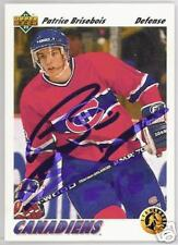 PATRICE BRISEBOIS Montreal Canadiens 1992 UPPER DEC  AUTOGRAPHED HOCKEY CARD JSA