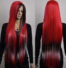 Belle et longue noire droite mixte rouge perruqueCosplay wig+Hairnet