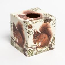 Red Squirrel Tissue Box Cover Unique wooden handmade in our worksop decoupaged