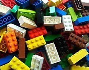 LEGO BRICKS: 50 x VARIOUS MIXED COLOURS INC RED, BLUE, GREEN & YELLOW 2x4 PIN