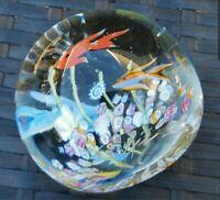 CAITHNESS GLASS SCOTLAND FLYING FISH AQUARIUM MILLEFIORI PAPERWEIGHT LTD EDIT